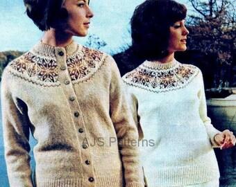 PDF Knitting pattern - Ladies Fair Isle Yoked Jumper & Cardigan Twin Set -Instant Download