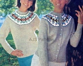 PDF Knitting Pattern - Ladies Fair Isle Circular Yoked Jumper and Cardigan Twin Set - Instant Download