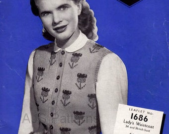 PDF Knitting Pattern for a 1940's Fair Isle Waistcoat with a Scottish Thistle Design - Instant Download