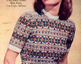 PDF Knitting pattern for a Fair Isle Jumper in a Beautiful 5 way Pastel Coloured  Design  - 1940's - Instant Download