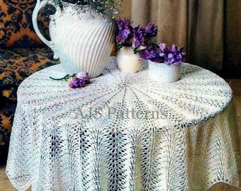 PDF Knitting Pattern For A Pretty Circular Tablecloth In A Retro Style    Instant Download
