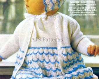 PDF Knitting Pattern for a Babies Layette Set with Attractive & Unusual Scalloped Design - Instant Download