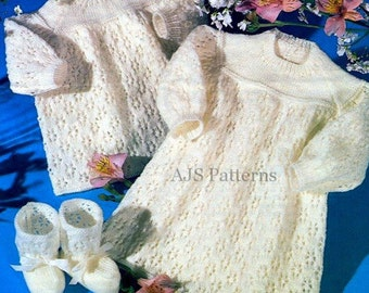 PDF Knitting Pattern for  a Sweet Babies Lacey Dress,Angel Top and Bootees - Instant Download