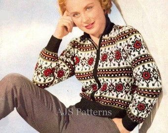 PDF Knitting Pattern for a Traditional German Design Fair Isle Jacket - 1950's - Instant Download