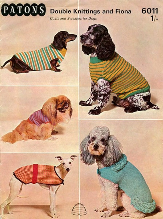 PDF Knitting Pattern for Five Assorted Dog Coats Jumpers and Jackets - Instant Download