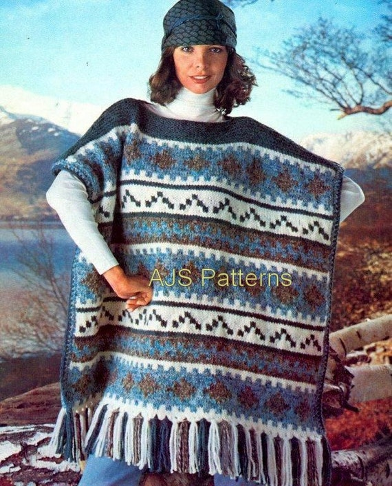 PDF Knitting Pattern for a Retro Blanket Poncho - Instant Download