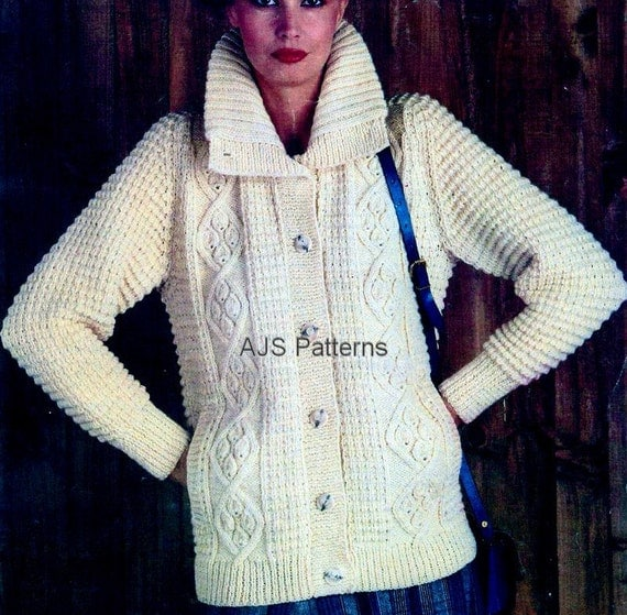 Ladies Knitting Patterns : PDF Knitting Pattern for a Ladies Large Collared Aran Cardigan