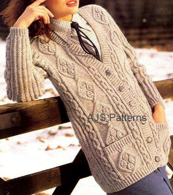 Aran Cardigan Knitting Patterns Free : PDF Knitting Pattern For Ladies Long Length by TheKnittingSheep