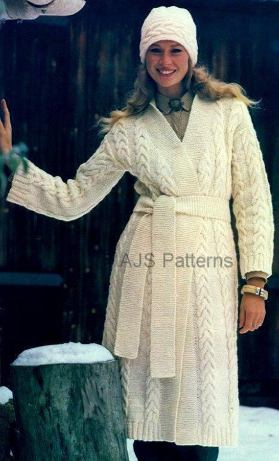 PDF Knitting Pattern For Ladies Long Length Aran Coat and Matching Pull On Hat - Instant Download
