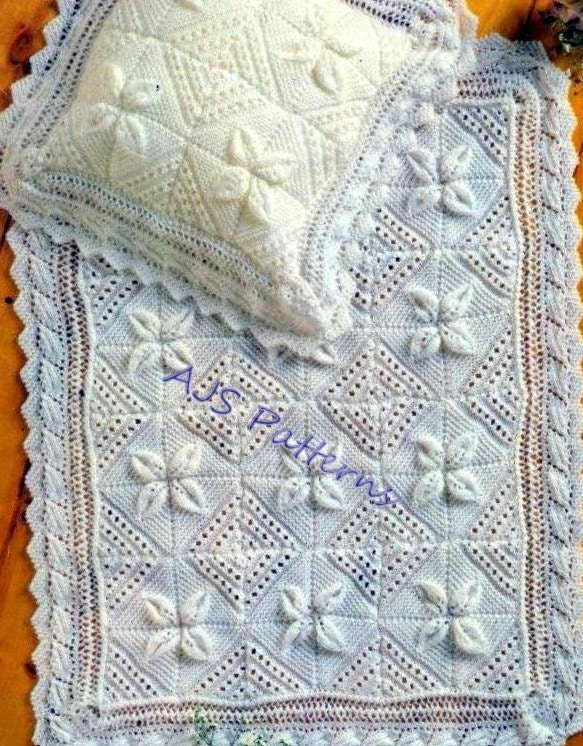 PDF Knitting Pattern for a Baby Blanket & Pillowcase Raised