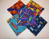 Boys Lunch Box Cloth Napkins Set of 5