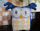 Large Blue Stuffed Owl