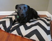 Dog Bed Black/Denton Chevron Pet Duvet Cover-Medium