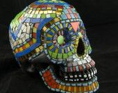 Sugar Skull, Day of the Dead. Dia De Los Muertos. Mosaic. Original Art, OOAK. Featured in 20 Treasuries.