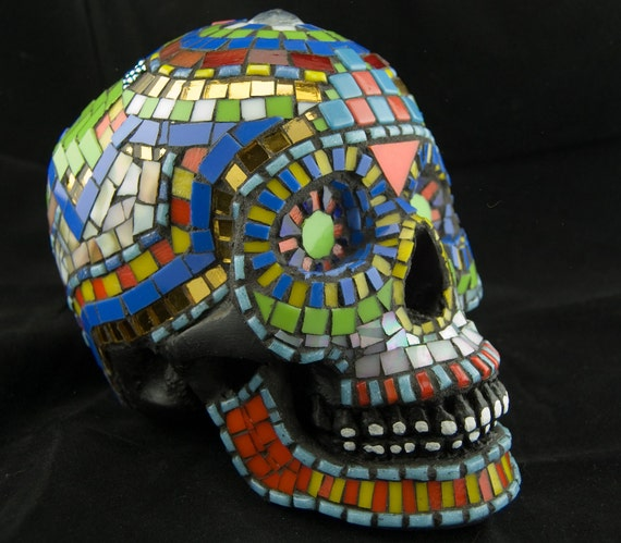Sugar Skull, Day of the Dead. Dia De Los Muertos. Mosaic. Original Art, OOAK. Featured in 20 Treasuries.