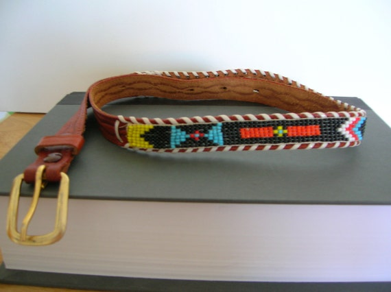 sale vintage indian beaded leather belt by suncityusa on etsy