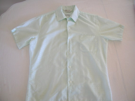 Clearance Vintage 60s Mr California Mint Green Mad Men Short Sleeve Loop Shirt Medium