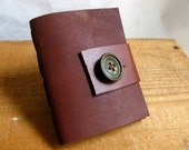 """Blank Leather Notebook- Cedar Brown, Pocket Sized With Button and Leather Strap Closure- """"the James"""""""