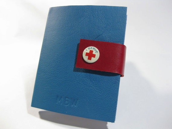 Refillable Leather Journal Handmade Pocket Notebook with Vintage Red Cross Pin and Magnetic Snap Latch, Blue/Red leather