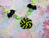 Black Bats & Lime Green Lollipop Necklace