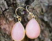 pink jade drop earrings