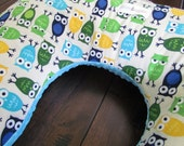 Boppy Style Nursing Pillow Cover in Funky Blue Owls and Light Turquoise Minky Dot