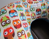 Boppy Style Nursing Pillow Cover, Hoot Hoot Owls with Turquoise Minky Dot and Hidden Zipper-For Kellie King