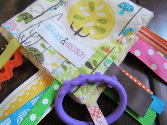Ribbon Baby Blanket, Happy Day with Light Yellow Minky- READY TO SHIP
