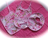 Laminated Cotton Baby Girl Bib Set Free shipping