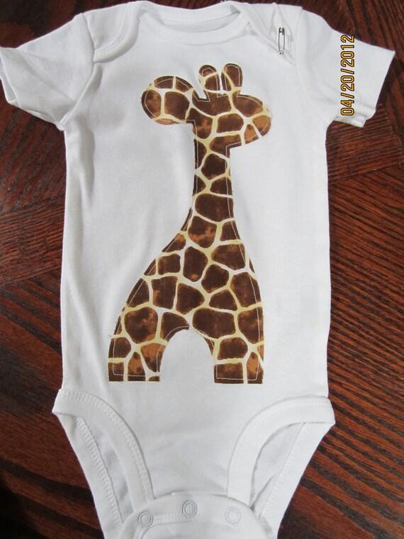 Giraffe Onesie Any size newborn to 24 months Short or Long Sleeved