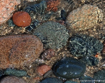 "Rocks in Rippling Water, Nature, Landscape, Photo, Photography, Print, ""Rocks"""