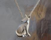 sitting  silver  kit fox pendant , SATIN FINISH