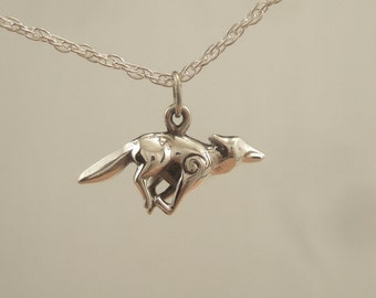 silver coyote pendant with chain