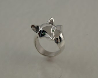 fox ring,   silver, high polish, colored stone eyes