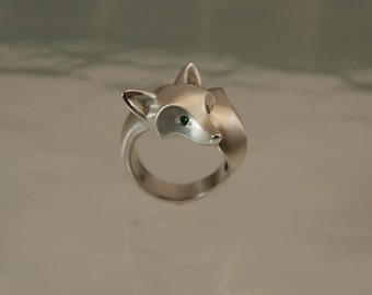 "silver fox ring with diamond eyes  (pick from list) ""satin"" with high polish accents finish"