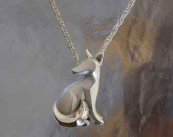 sitting  silver  kit fox pendant , SATIN FINISH