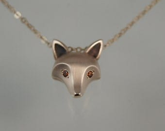 fox pendant , diamond eyes. pick you color, gold filled chain