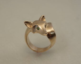 bronze fox ring  with  diamond eyes, bright satin finish , pick your color