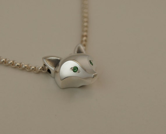 silver fox pendant . gemstone eye color, HIGH POLISHED.with chain