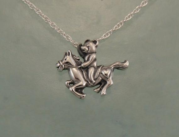 teddybear and pony silver pendant/charm