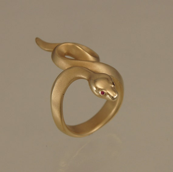 boa snake ring, bronze, ruby or blue sapphire eyes