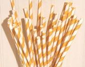 100 Yellow Striped Paper Straws