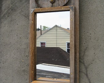 SOLD - Handcrafted Large Industrial Rustic Barnwood Mirror no.17