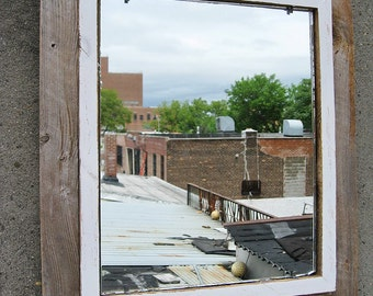 SOLD - Handcrafted Large Industrial Rustic Barnwood Mirror no.27