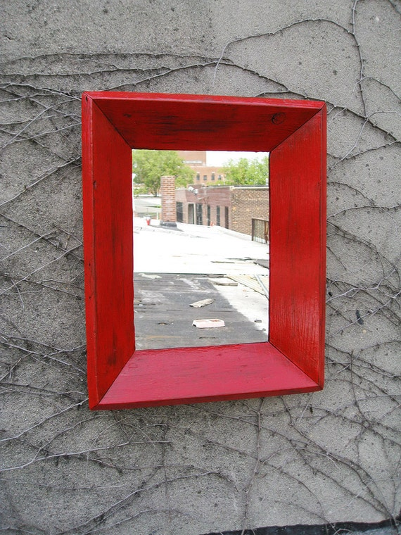 Handcrafted Small Industrial Rustic  Red Mirror no.29