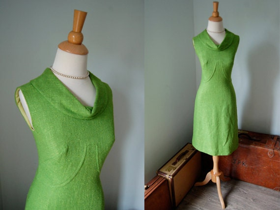 RESERVED FOR DEBBIE 1960s Dress  // 60s Green Linen Wiggle Dress // Unique Bust