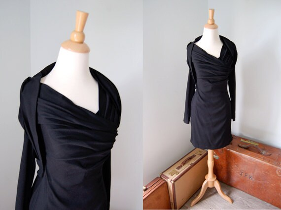 R E S E R V E D.....         Vintage 1980s SOPHIE SITBON Dress // 1980s Drapery Dress // Designer Couture // Draped in Designer Fabric
