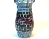 Stained glass mosaic vase blue and red