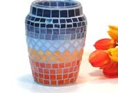 Stained glass mosaic vase blue and orange sunset