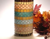 Stained glass mosaic vase or pillar candle holder turquoise salmon tan